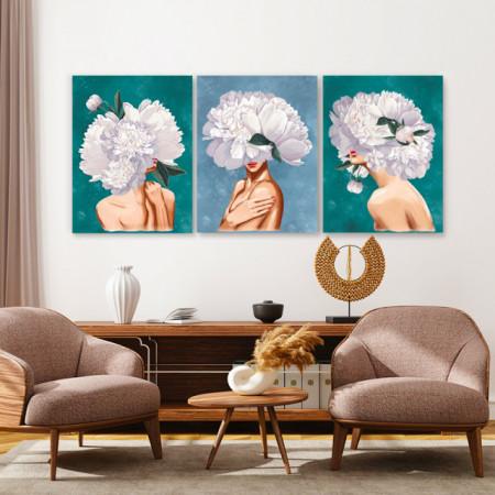 Set tablouri canvas - Peony lady