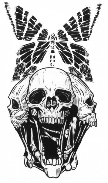 Tatuaj temporar -craniu&fluture- 17x10cm