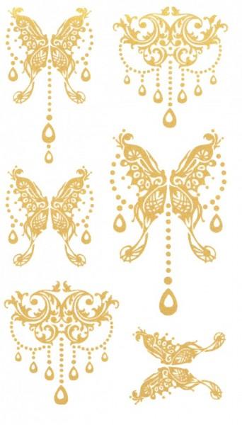 Tatuaj temporar -fluturi aurii- 17x10cm