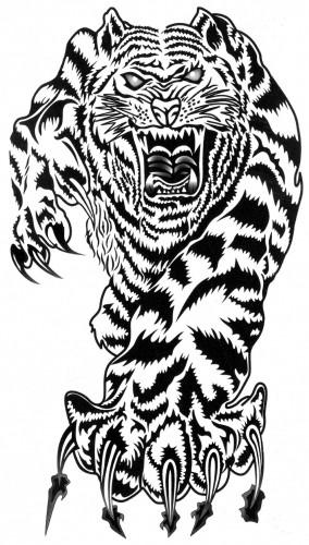 Tatuaj temporar -tigru in atac- 17x10cm