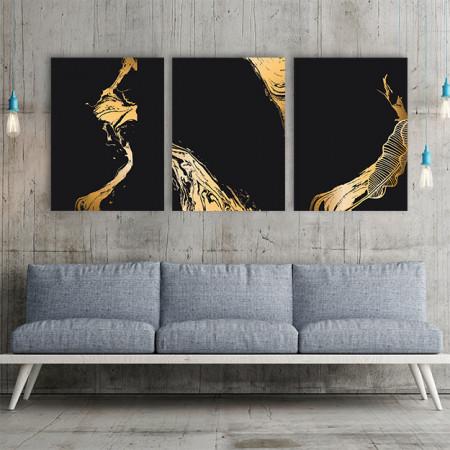 Set 3 tablouri - Liquid Gold