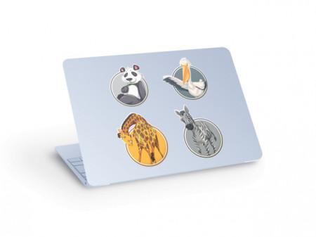 Sticker laptop animale - panda, zebra, girafa, barza