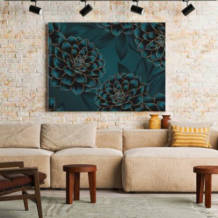Tablou Canvas Blue and golden dahlias