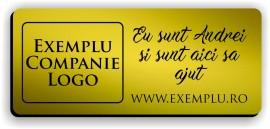 Ecuson personalizat gravat cu nume si/sau logo 7x3cm, auriu
