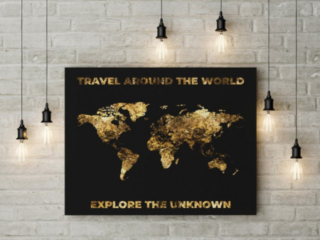 Tablou canvas - harta lumii aurie