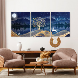 Set tablouri canvas - Enchanted forest at night