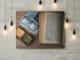 Tablou Canvas Old book and glasses