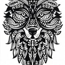 Tatuaj temporar lup-tribal- 17x10cm
