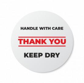 Etichete personalizate HANDLE WITH CARE, 100 buc, PVC, rezistente la apa