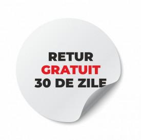 Etichete personalizate RETUR GRATUIT, 100 buc, PVC, rezistente la apa