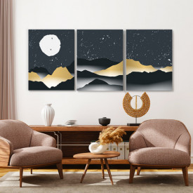 Set tablouri canvas - Nights in gold and grey