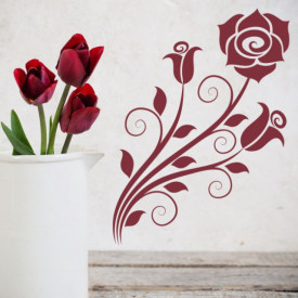 Sticker Rose Flower Swirls Floral