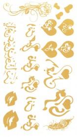 Tatuaj temporar -inimi aurii- 10x17cm