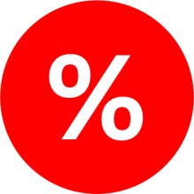 Etichete personalizate cu %, 100 buc, PVC, rezistente la apa