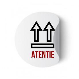 Etichete personalizate cu ATENTIE, 100 buc, PVC, rezistente la apa