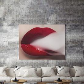 Tablou Canvas White smoke, red lips