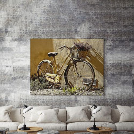 Tablou Canvas Yellow bike with flowers
