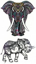 Tatuaj temporar -Elefant cu elemente tribale si design indian- 17x10cm