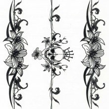 Tatuaj temporar -Elemente tip bratara cu flori si craniu- 17x10cm