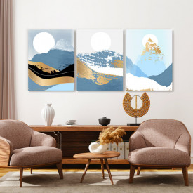 Set tablouri canvas - Golden abstract winter