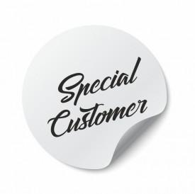 Etichete personalizate SPECIAL CUSTOMER, 100 buc, PVC, rezistente la apa