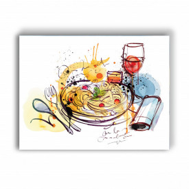 TABLOU BUCATARIE - PASTA AND WINE