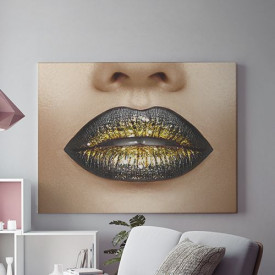 Tablou Canvas Golden Lips