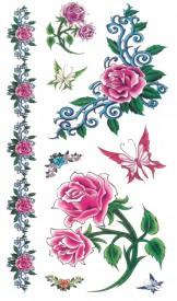 Tatuaj temporar -pink roses- 17x10cm