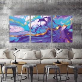 Set 3 tablouri - Purple marble