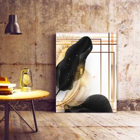 Set tablouri canvas - Tropical black and gold