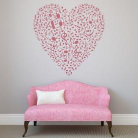 Sticker Music Notes Love Heart