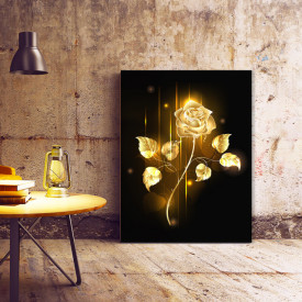 Tablou Canvas Shining golden rose