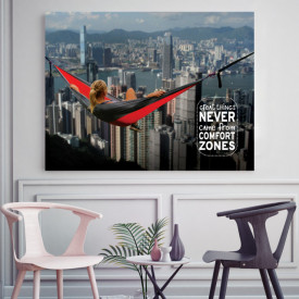 Tablou motivational - Great things and the comfort zone