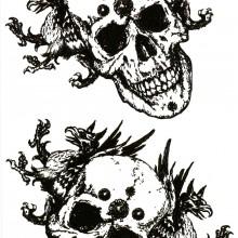 Tatuaj temporar -Craniu cu doi dragoni- 17x10cm
