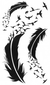 Tatuaj temporar -feathers and birds- 17x10cm