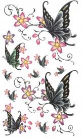 Tatuaj temporar -flori si fluturi- 10x17cm