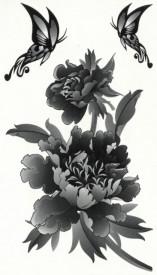 Tatuaj temporar -o floare si doi fluturi- 17x10cm