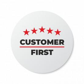 Etichete personalizate CUSTOMER FIRST, 100 buc, PVC, rezistente la apa