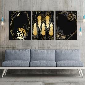 Set 3 tablouri - Frunze si pene aurii