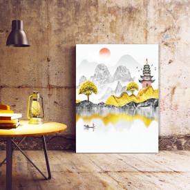 Set tablouri canvas - Golden chinese landscape