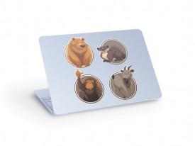 Sticker laptop urs maimuta castor capra