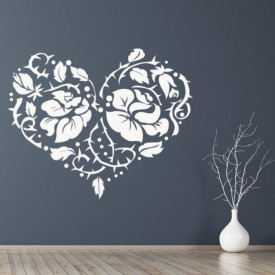 Sticker Love Heart Rose Flower