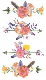 Tatuaj temporar -flori colorate- 17x10cm
