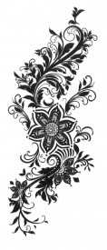 Tatuaj temporar -flori negre- 6x15cm