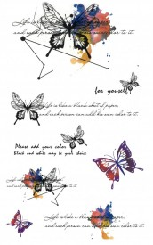 Tatuaj temporar -fluturi cu mesaje- 10x17cm