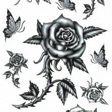 Tatuaj temporar - trandafiri cu spini 17x10cm