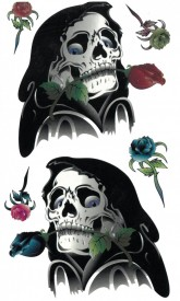 Tatuaj temporar - death with rose- 17x10cm
