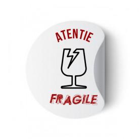 Etichete personalizate cu FRAGILE, 100 buc, PVC, rezistente la apa