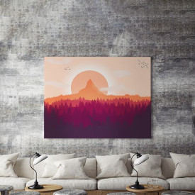 Tablou Canvas Cerb si apus violet