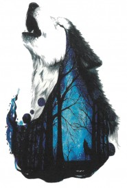 Tatuaj temporar -wolf in the forest- 17x10cm